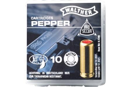 Walther Pfeffer-Gas Patronen cal. 9 mm P.A.PV. - 10 Schuss -