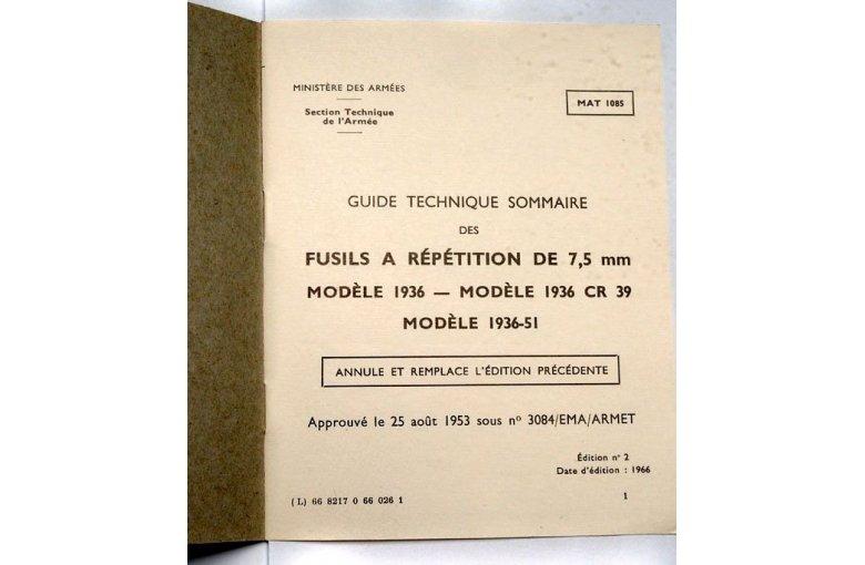 Originalbeschreibung MAS 36 aus 7. ZUBEHÖR bei Waffen HEGE